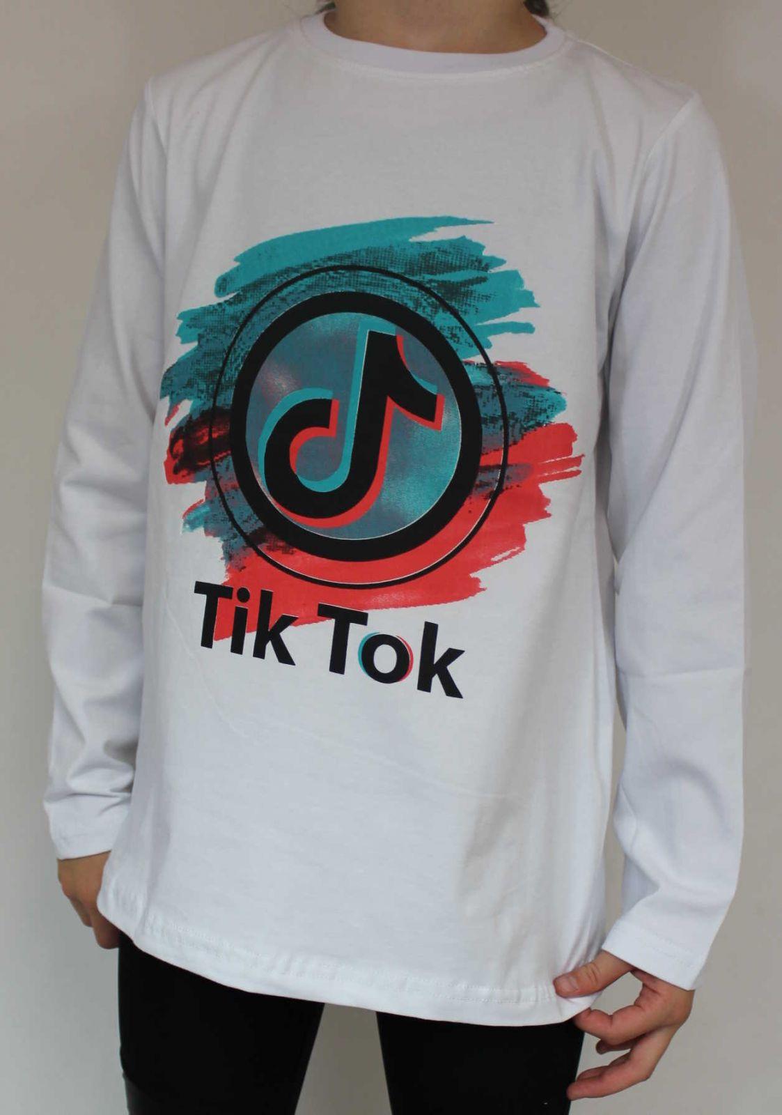 Tik Tok tričko, Tik Tok bílé tričko, triko dlouhý rukáv Tik Tok, bavlněné tričko Tik Tok, dívčí tričko TIK TOK, chlapecké tričko Tik Tok