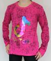 TIK TOK dívčí tričko - žíhané tmavě růžové