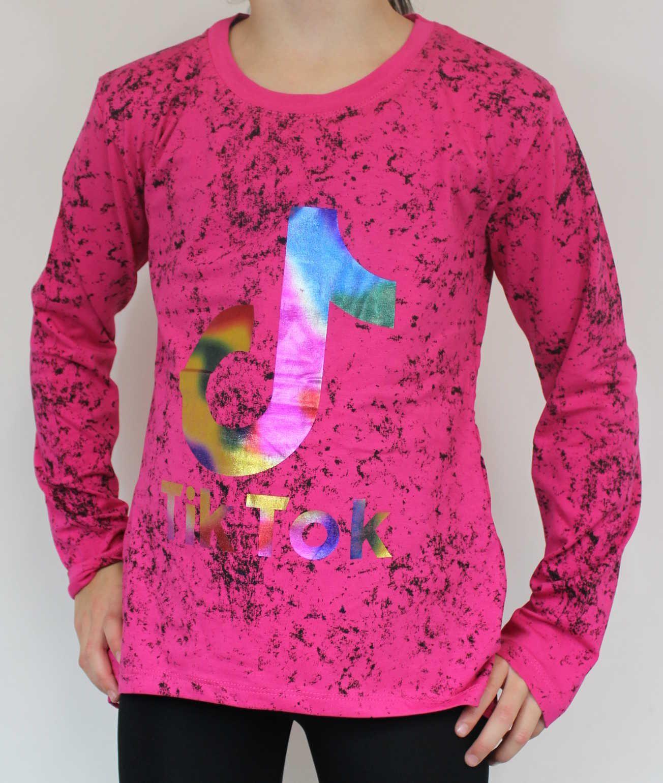 Tik Tok tričko, Tik Tok růžové tričko, triko dlouhý rukáv Tik Tok, bavlněné tričko Tik Tok, dívčí tričko TIK TOK