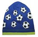 Bavlněná čepice s míčem -modrá