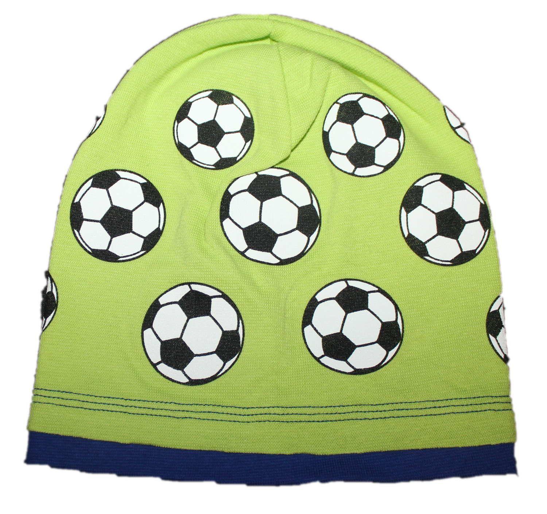 bavlněná čepice s míčem, sv.zelená čepice s balonem, fotbalová čepice, chlapecké bavlněná čepice s míčem