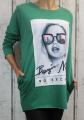 Dámská dlouhá mikina Face/tunika/šaty - zelená
