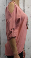 Dámská tunika, dámské tričko volný střih, dámská halenka tričko s výstřihem na ramenou, růžové volné tričko Italy Moda