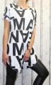 Dámské dlouhé tričko s písmeny - černo-bílé