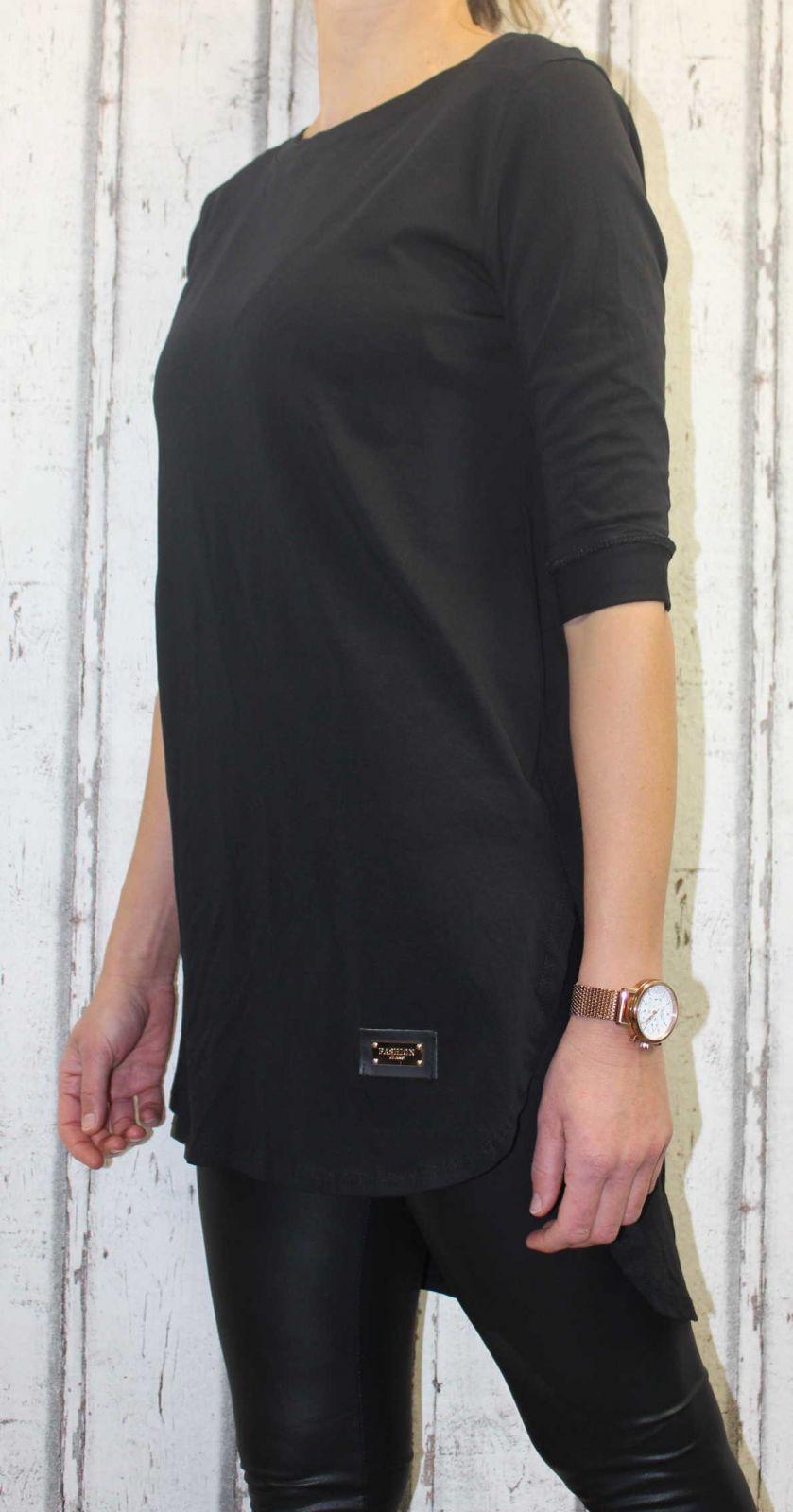 Dámské bavlněné tričko krátký rukáv, dámské dlouhé tričko, dámské triko s rozparky, dlouhé triko, dámské dlouhé triko, dlouhá tunika Italy Moda