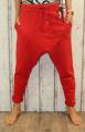 Dámské tepláky se spadlým sedem, dámské baggy tepláky s nízkým sedem, červené baggy, dámské červené tepláky