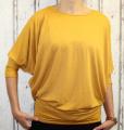 Dámské volné tričko dl.rukáv - spadlá ramena - hořčicové