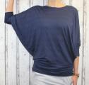 Dámské volné tričko dl.rukáv - spadlá ramena - tm.modré