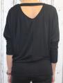 Dámské tričko dlouhý rukáv, tričko spadlá ramena, dámské volné triko, tričko volné přes břicho, triko volný střih, černé volné tričko Italy Moda