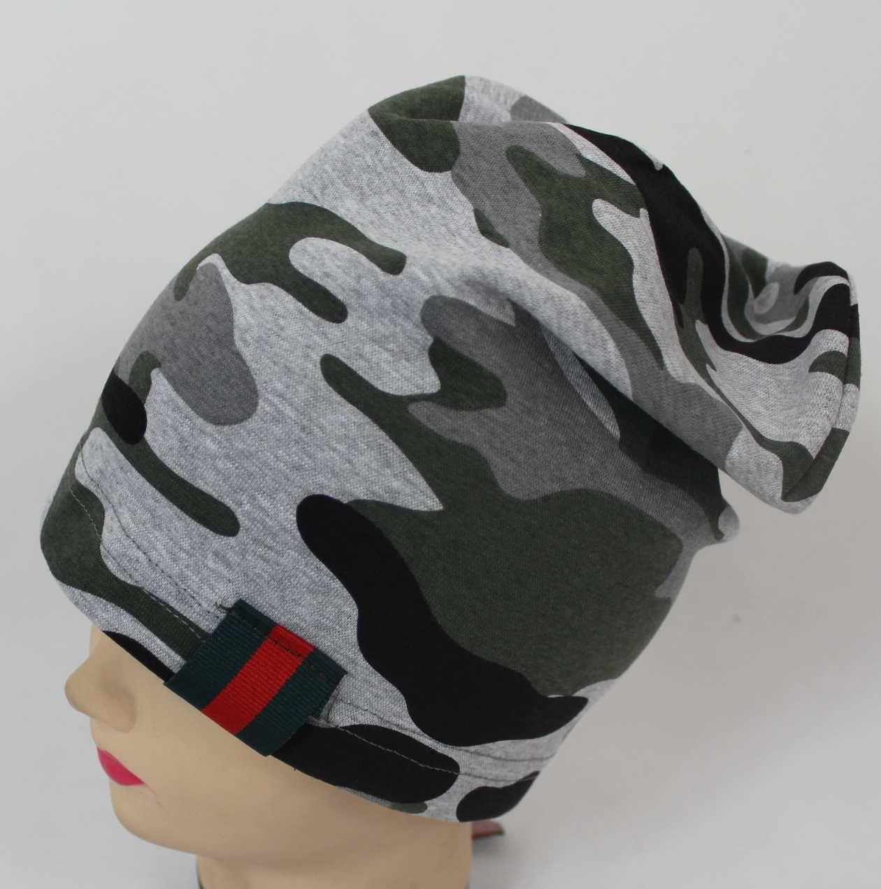 dětská bavlněná čepice, maskáčová čepice, chlapecká čepice, čepice se spadlým vrškem