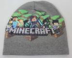 Dětská bavlněná čepice - Minecraft - tm. šedá
