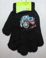 Dětské prstové rukavice - černé s autem