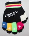 Dětské prstové rukavice - černé - barevné prsty