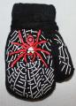 Rukavice palčáky se šňůrkou teplejší - černé s pavoukem