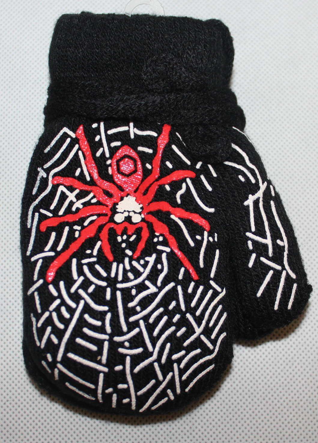 Dětské rukavice, dětské palčáky se šňůrkou, slabé rukavice, chlapecké palčáky s pavoukem, pletené rukavice palčáky, dětské rukavice na šňůrku