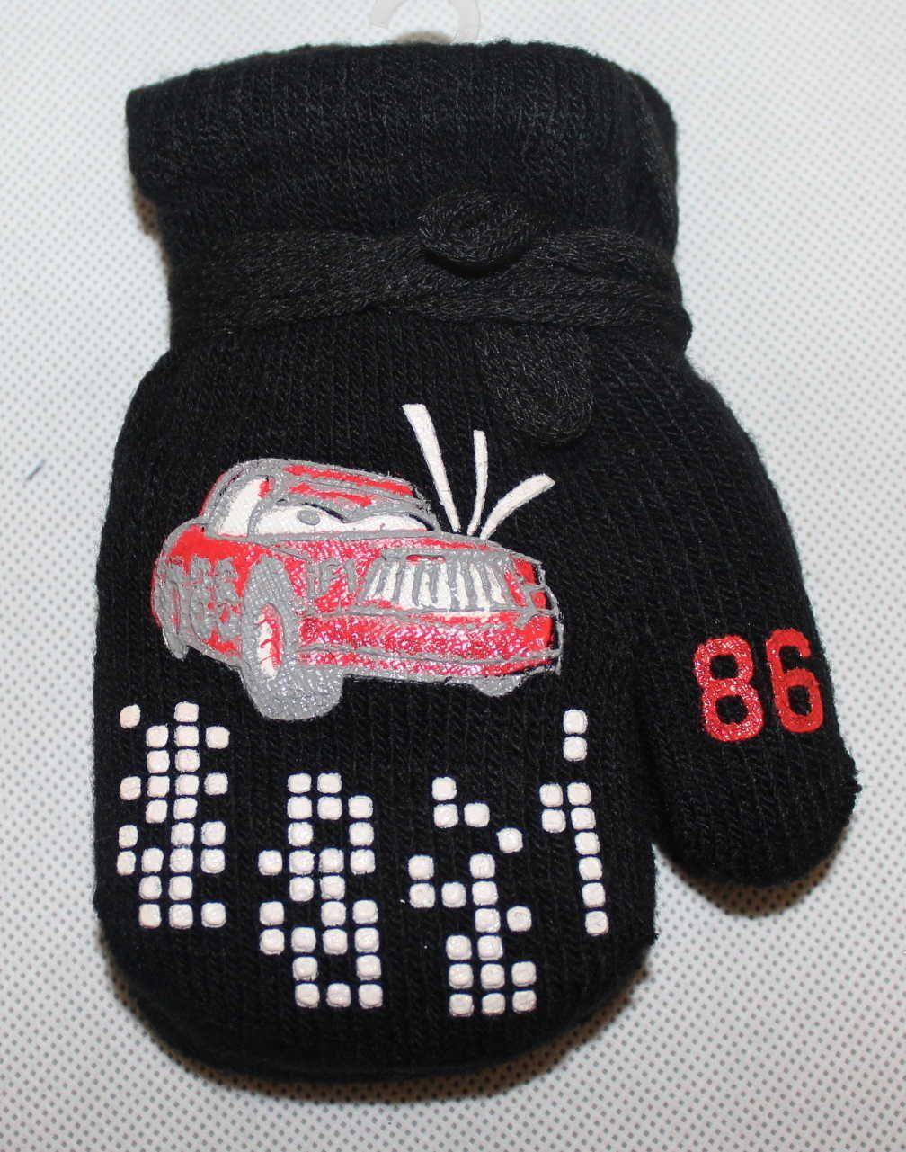 Dětské rukavice, dětské palčáky se šňůrkou, slabé rukavice, chlapecké palčáky s autem, pletené rukavice palčáky, dětské rukavice na šňůrku