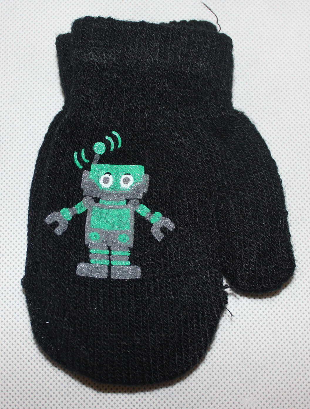 Dětské rukavice dětské palčáky slabé rukavice, chlapecké palčáky s robotem, pletené rukavice palčáky