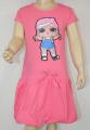 LOL - blikací bavlněné šaty s panenkou LOL - sv.růžové
