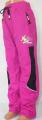 Zateplené šusťákové kalhoty SEZON - růžovo-černé se zelenými prvky
