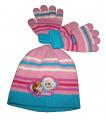 SET FROZEN - čepice + rukavice - růžovo-modrá