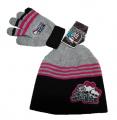 SET MONSTER HIGH - čepice + rukavice černo-šedá