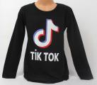 dívčí tričko Tik Tok, triko dlouhý rukáv Tik Tok,černé bavlněné tričko Tik Tok, Tik Tok oblečení, dětské tričko Tik Tok | 128, 152, 164, 176