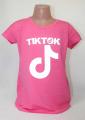 dívčí tričko Tik Tok, triko krátký rukáv Tik Tok, bavlněné tričko Tik Tok, Tik Tok oblečení, růžové tričko | 128, 152, 164, 176