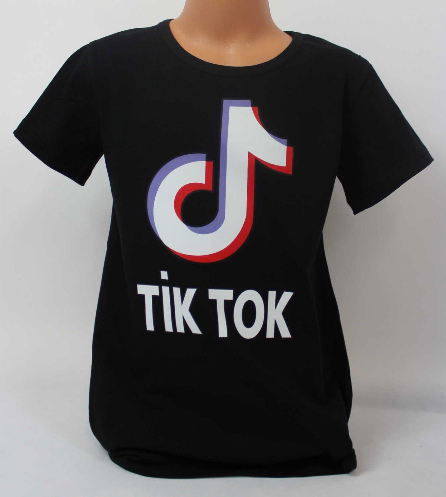 dívčí tričko Tik Tok, triko krátký rukáv Tik Tok,černé bavlněné tričko Tik Tok, Tik Tok oblečení, dětské tričko Tik Tok