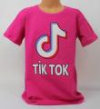 dívčí tričko Tik Tok, triko krátký rukáv Tik Tok,růžové bavlněné tričko Tik Tok, Tik Tok oblečení, růžové tričko | 128, 140, 152, 164