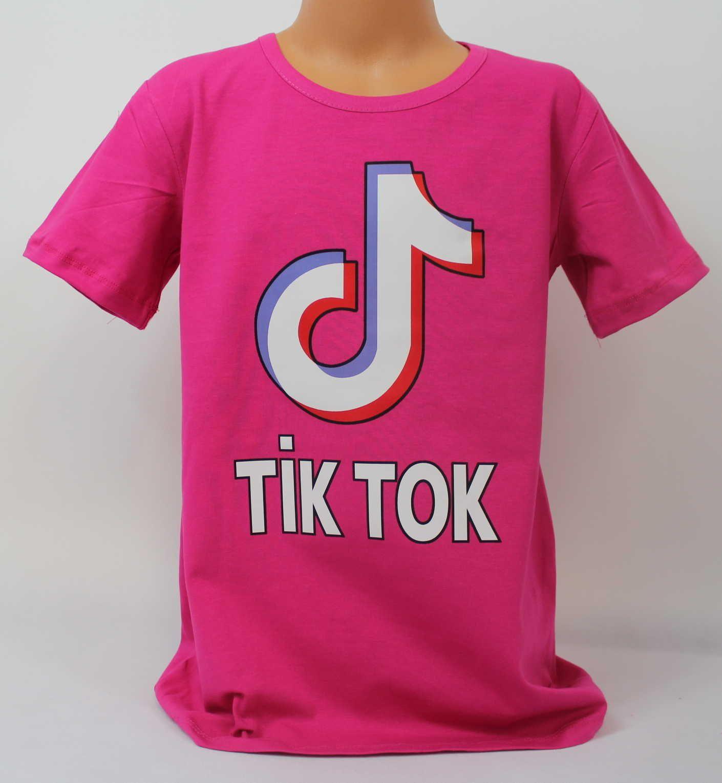dívčí tričko Tik Tok, triko krátký rukáv Tik Tok,růžové bavlněné tričko Tik Tok, Tik Tok oblečení, růžové tričko