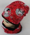 Minnie - set - čepice+nákrčník - červená