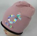 TIK TOK čepice s lehce spadlým vrškem- bavlněná - zateplená staro-růžová