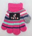TIK TOK dětské prstové rukavice - tm.růžové - pruhy