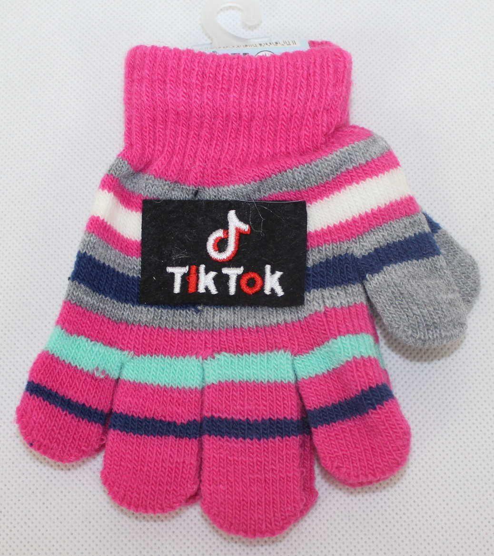 TIK TOK dětské prstové rukavice, TIK TOK úpletové rukavice, dívčí tik tok rukavice