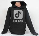 TIK TOK mikina s kapucí bavlněná - černá