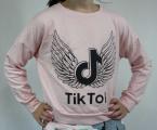 Mikina Crop Top - krátká - TIK TOK - růžová