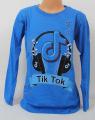 TIK TOK modré tričko, chlapecké tričko Tik Tok, modré triko dlouhý rukáv Tik Tok, bavlněné tričko Tik Tok | 128, 134, 140