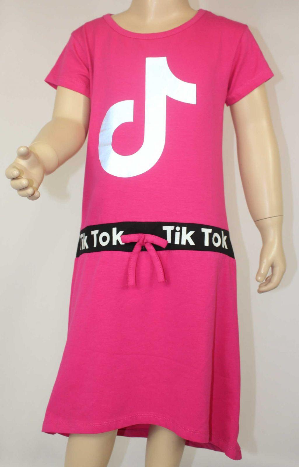 TIK Tok šaty, dívčí Tik Tok šaty, růžové Tik Tok šaty, dětské Tik Tok šaty, dívčí bavlněné šaty Tik Tok, šaty Tik Tok