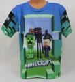 Triko krátký rukáv Minecraft - modro-zelené