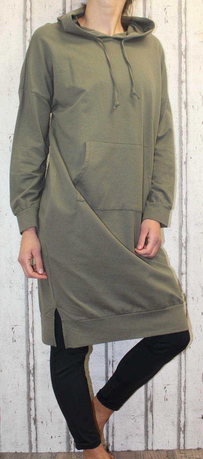 Dámská dlouhá mikina, dlouhá mikina ke kolenům, dlouhé mikinové šaty, bavlněná dlouhá mikina, khaki dlouhá mikina, dlouhá mikina s kapucí Italy Moda