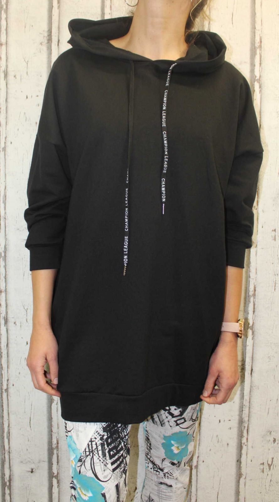 Dámská dlouhá mikina, dlouhé mikinové šaty, bavlněná dlouhá mikina, kostkovaná dlouhá mikina, černá dlouhá mikina Italy Moda