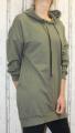 Dámská dlouhá mikina s kapucí - khaki