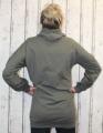 Dámská dlouhá mikina, dlouhé mikinové šaty, bavlněná dlouhá mikina, khaki dlouhá mikina, dlouhá mikina s kapucí, mikina s nabíranými rukávy Italy Moda