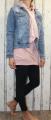 Dámská dlouhá mikina, dlouhé mikinové šaty, bavlněná dlouhá mikina, starorůžová dlouhá mikina, dlouhá mikina s kapucí, mikina s nabíranými rukávy Italy Moda
