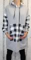 Dámská dlouhá mikina, dlouhé mikinové šaty, bavlněná dlouhá mikina, kostkovaná dlouhá mikina, šedá dlouhá mikina Italy Moda