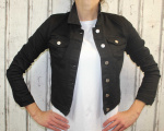 Dámská džínová bunda černá, letní džínová bunda, džínová elastická bunda, černá džíska, černá džínová bundička Italy Moda