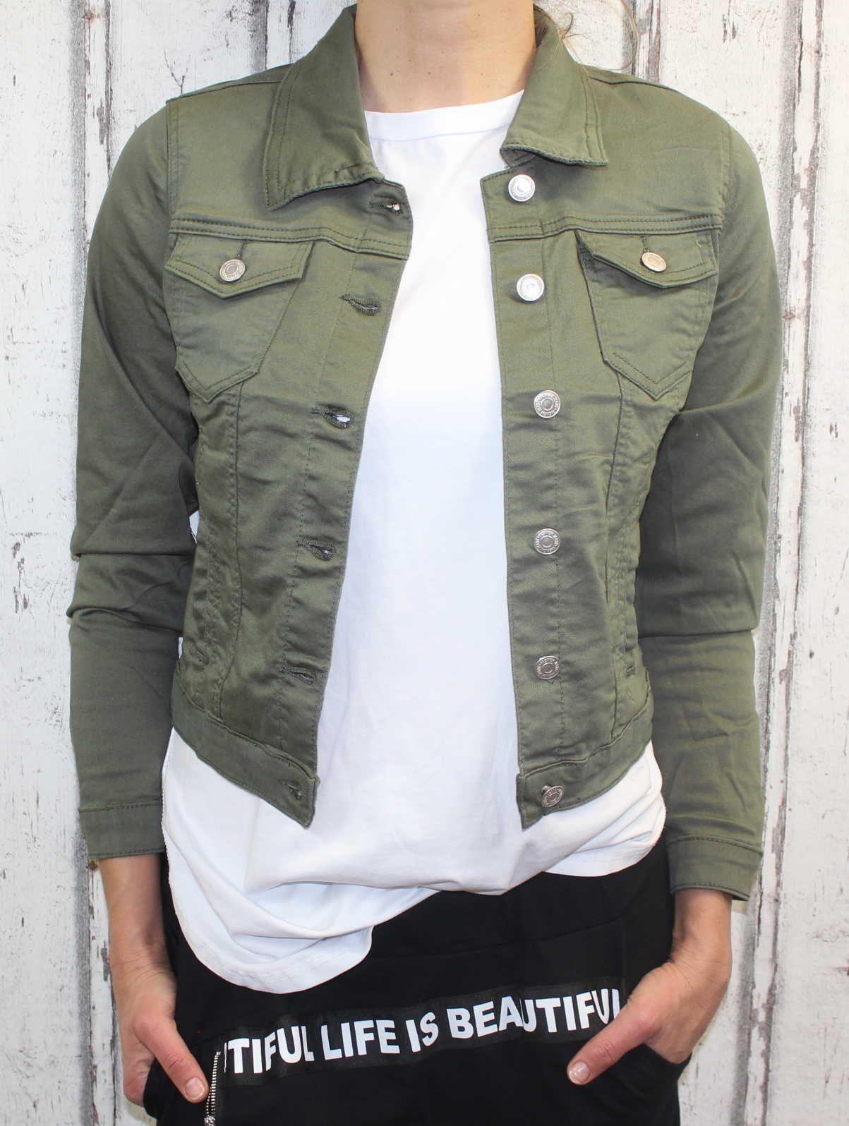 Dámská džínová bunda khaki, letní džínová bunda, džínová elastická bunda Italy Moda