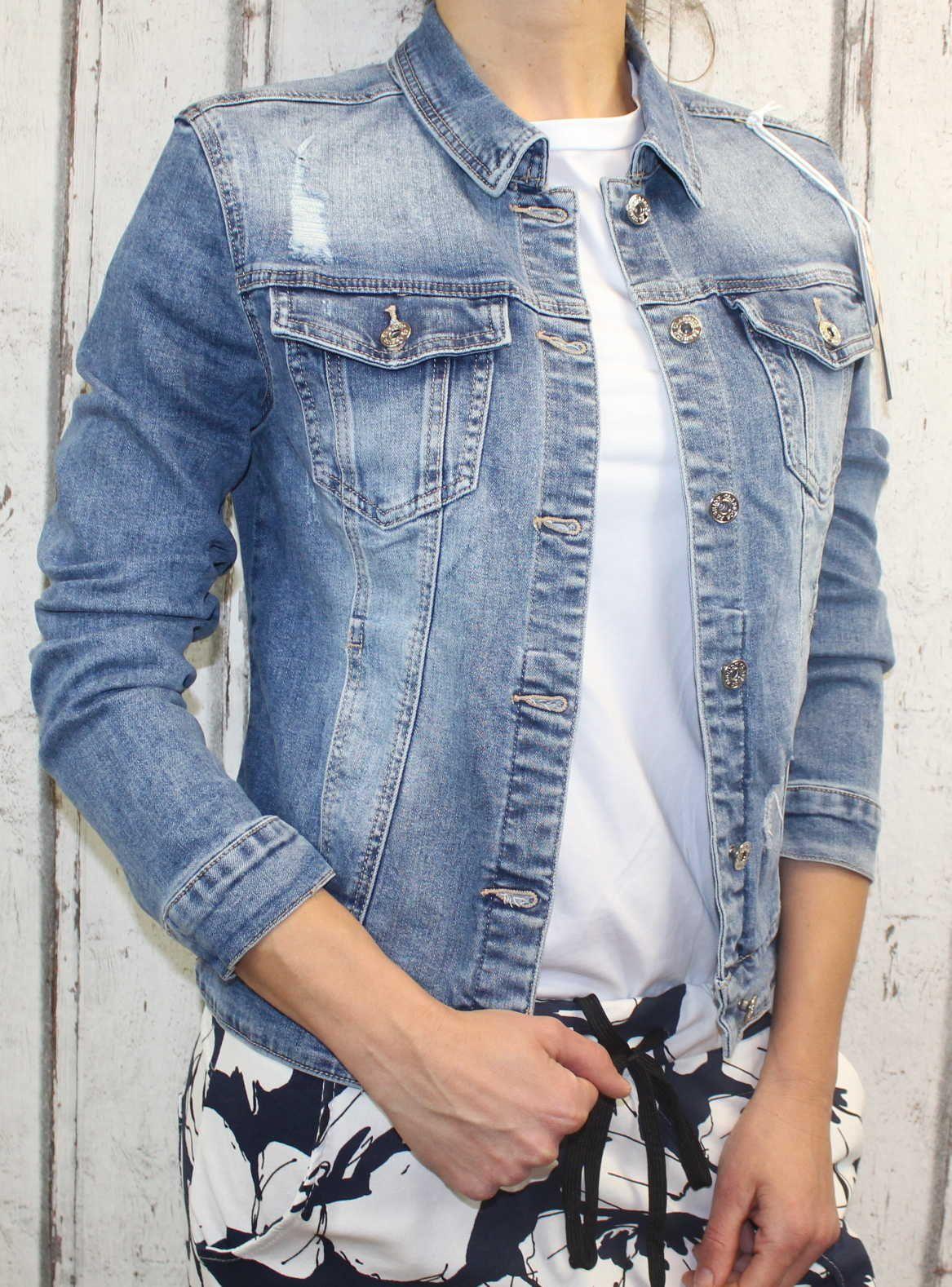 Dámská džínová bunda modrá, letní džínová bunda, džínová elastická bunda, modrá džíska, modrá džínová bundička Italy Moda