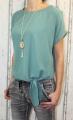 Dámská tunika, dámské tričko volný střih, dámská halenka, dámská halenka s uzlem zelená Italy Moda