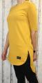 Dámské dlouhé tričko/tunika s rozparky - hořčicové